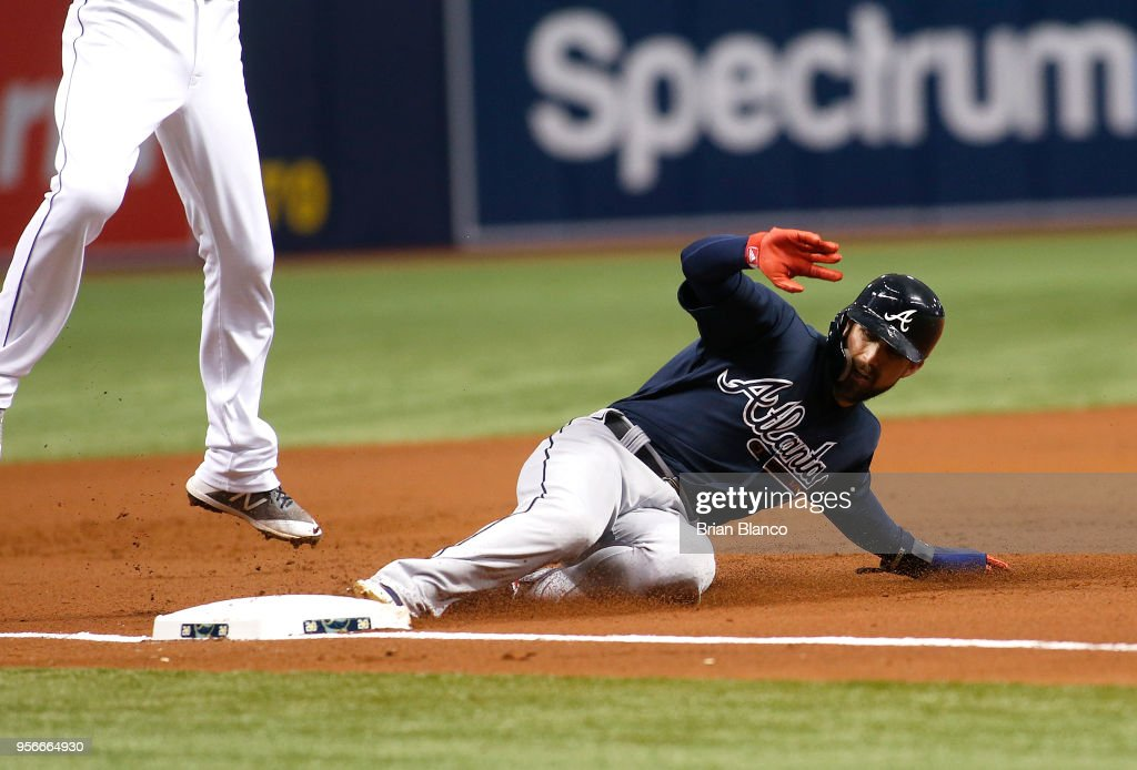 Ender Inciarte #11 of the Atlanta Braves steals third base in front of third baseman Matt Duffy #5 of the Tampa Bay Rays during the second inning on May 9, 2018 at Tropicana Field in St. Petersburg, Florida.
