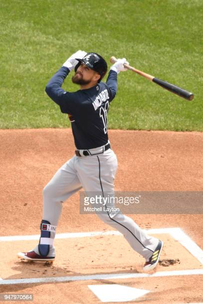 Ender Inciarte of the Atlanta Braves takes a swing during a baseball game against the Washington Nationals at Nationals Park on April 11 2018 in...