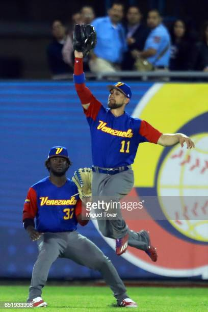 Ender Inciarte of Venezuela makes a play in the bottom of the sixth inning during the World Baseball Classic Pool D Game 2 between Venezuela and...