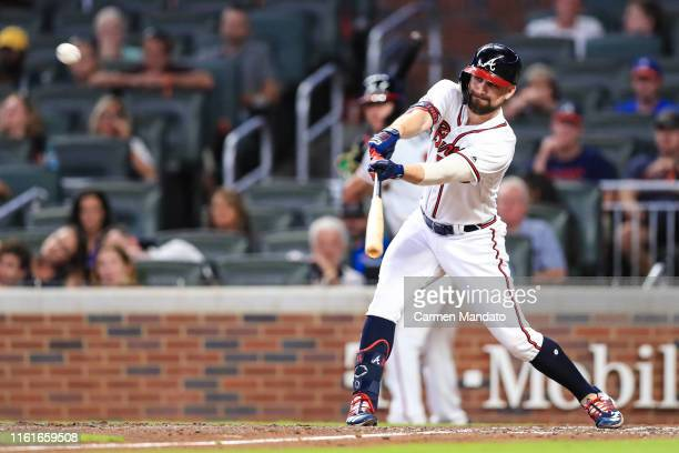 Ender Inciarte singles to center field scoring Josh Donaldson of the Atlanta Braves in the seventh inning against the New York Mets at SunTrust Park...