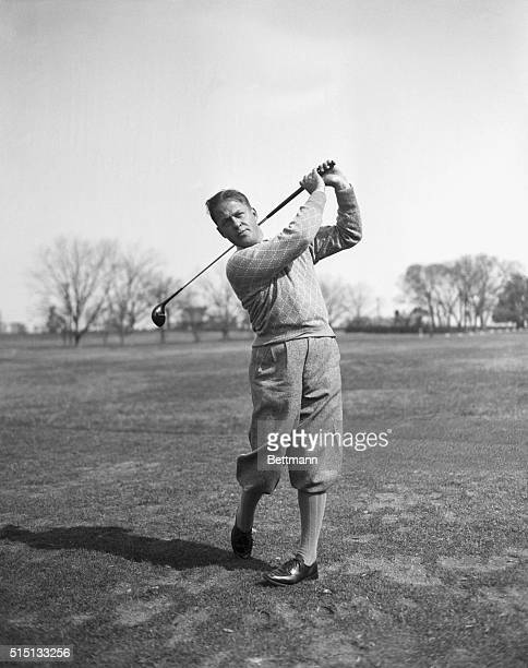 Ending a four-year absence from golf, Bobby Jones is pictured here on his return to the Masters Invitation Golf Tournament at the Augusta Golf Club...