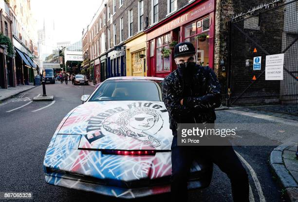 Endless Artist sprayed a punk mural on an original KITT car from the retro hit TV series Knight Rider on October 27 2017 in London England
