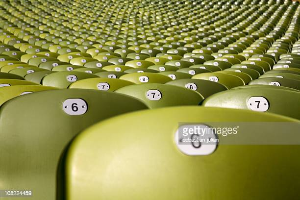 endless large group of seats - olymic soccer stadium munich - olympic stadium stock pictures, royalty-free photos & images