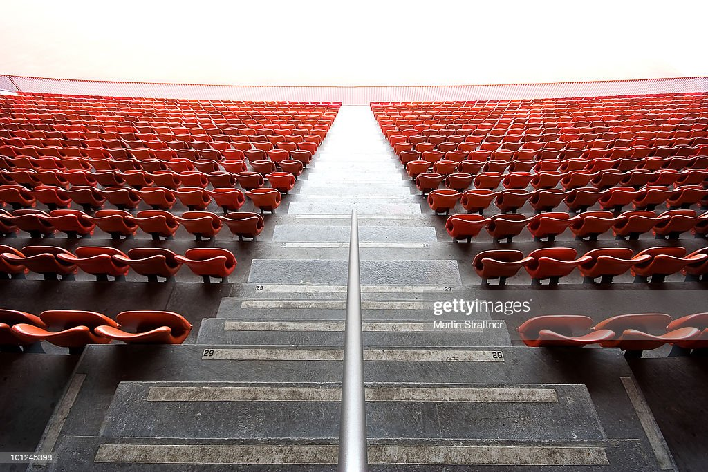 Endless red chairs : Stock Photo