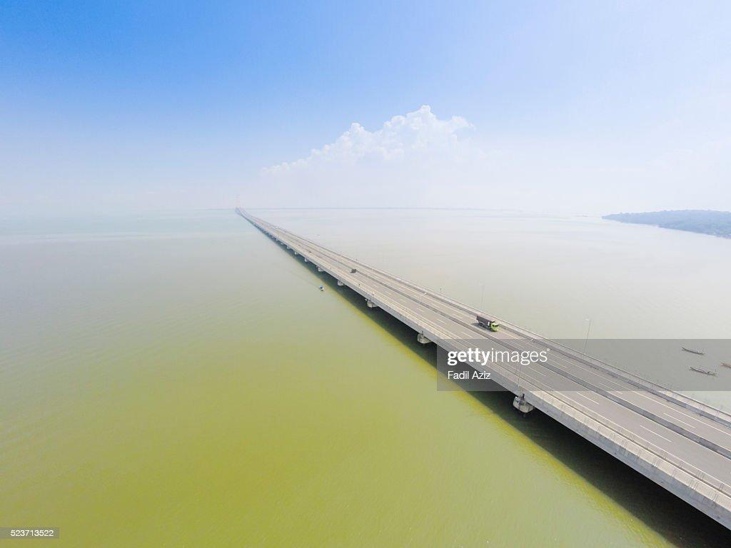 A bridge span across Java Sea. Its name is Suramadu bridge, span for 5 km.