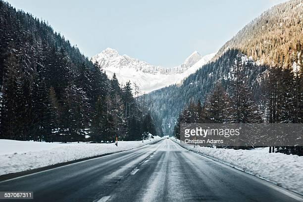 endless snowy road through forest - descrição geral - fotografias e filmes do acervo