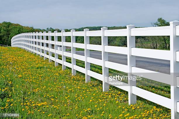 endless white fence - lancaster county pennsylvania stock pictures, royalty-free photos & images