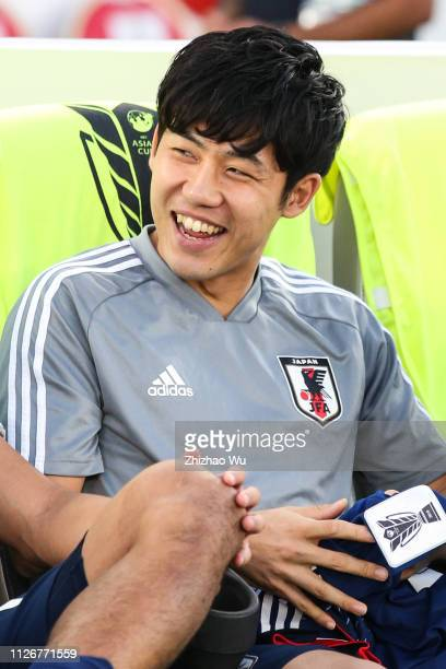 Endo Wataru of Japan in action during the AFC Asian Cup final match between Japan and Qatar at Zayed Sports City Stadium on February 01 2019 in Abu...