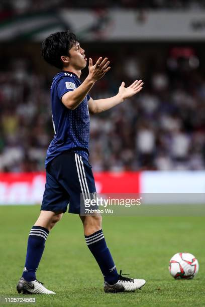 Endo Wataru of Japan in action during the AFC Asian Cup semi final match between Iran and Japan at Hazza Bin Zayed Stadium on January 28 2019 in Al...