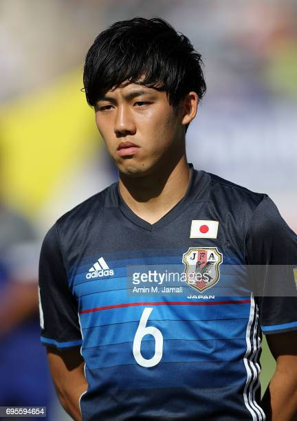 Endo Wataru of Japan looks on during the FIFA World Cup Russia Asian Final Qualifier match between Iraq and Japan at PAS Stadium on June 13 2017 in...