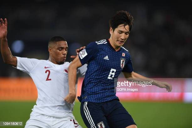 Endo Wataru Pedro Correia seen in action during the final Asian cup 2019 match between Qatar and Japan at the Zayed sport city stadium Qatar beat...