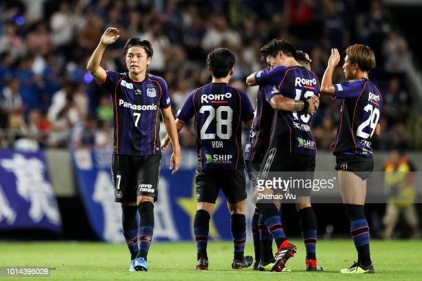 Endo Yasuhito celebrates the victory after the J.League J1 match between Gamba Osaka and FC Tokyo at Suita City Football Stadium on August 10, 2018...