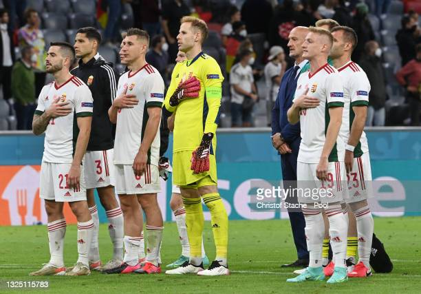 Endre Botka, Willi Orban, Peter Gulacsi and Kevin Varga of Hungary acknowledge the fans after the UEFA Euro 2020 Championship Group F match between...
