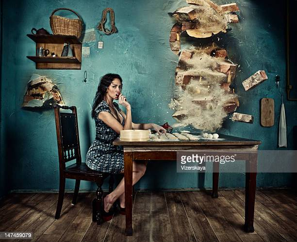 endurance and tranquillity of italian housewife - demolishing stock pictures, royalty-free photos & images