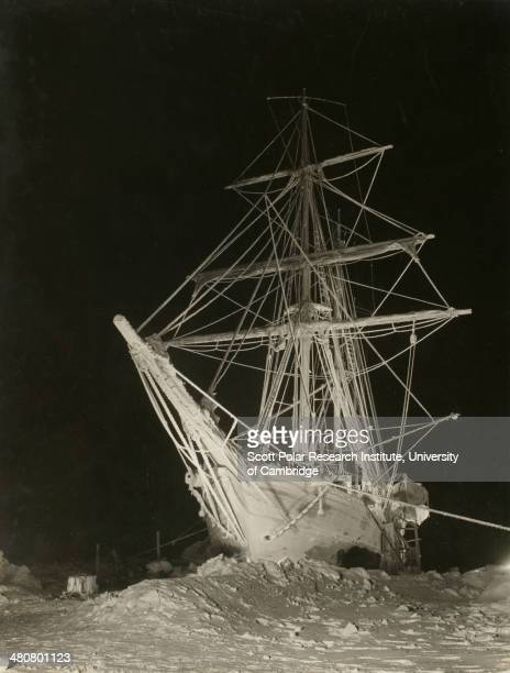 'Endurance' at midwinter 1915 during the Imperial TransAntarctic Expedition 191417 led by Ernest Shackleton Taken at night using a flash light
