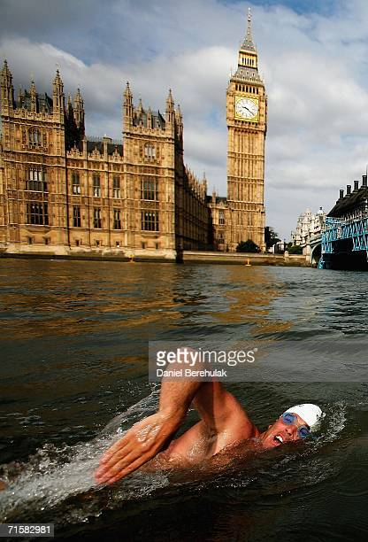 Endurance swimmer Lewis Gordon Pugh swims in the Thames River past the Houses of Parliament and Clock Tower, also known as Big Ben on August 4, 2006...