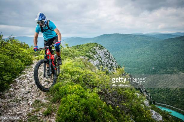 Enduro All Mountain E bike rider - adrenaline MTB trail