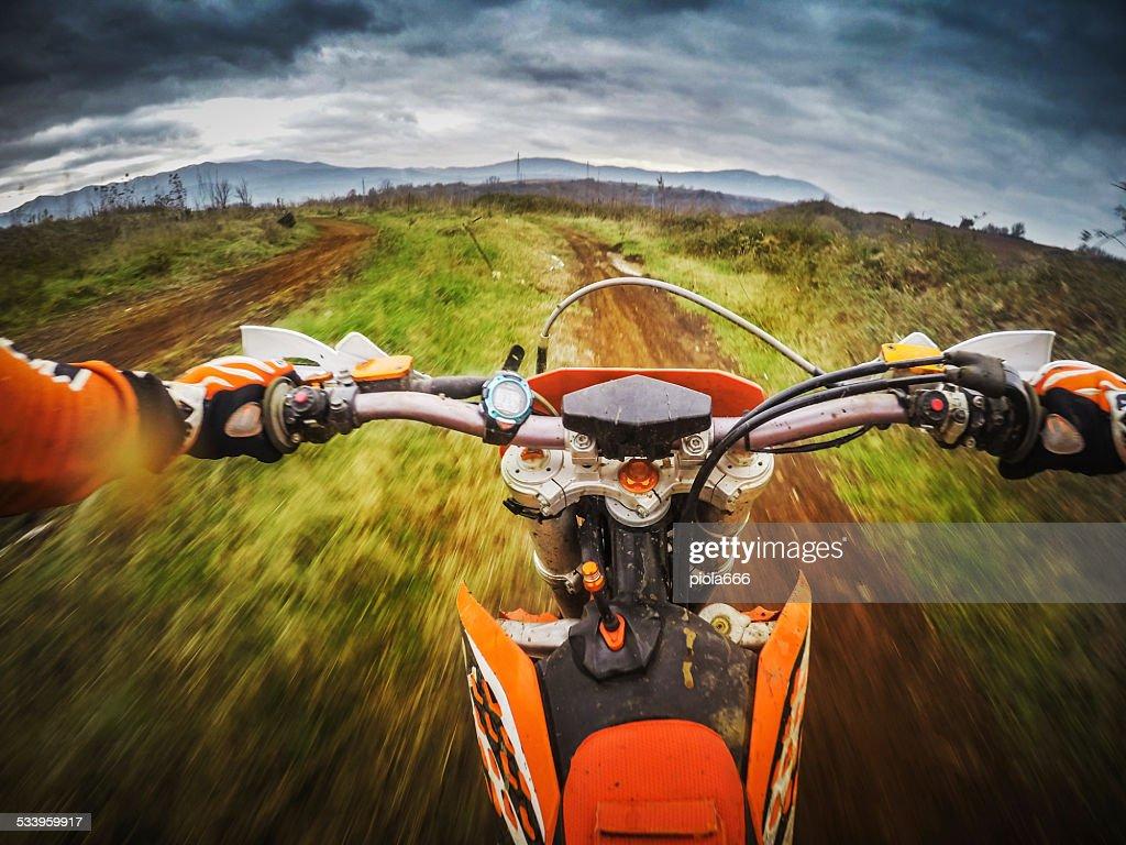 Enduro Motocross motorbike racing offroad : Stock Photo