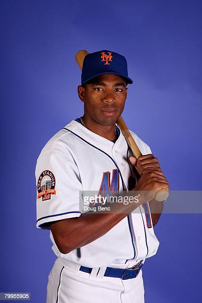 Endy Chavez of the New York Mets poses during Spring Training Photo Day at Tradition Field on February 23 2008 in Port Saint Lucie Florida