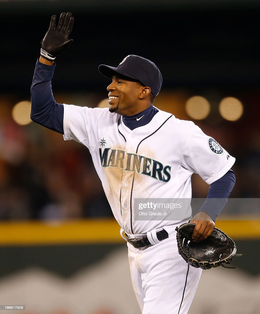 Endy Chavez #9 of the Seattle Mariners celebrates after the Mariners defeated the Detroit Tigers 2-0 at Safeco Field on April 18, 2013 in Seattle, Washington.
