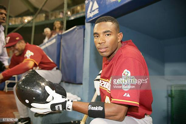 Endy Chavez of Venezuela is pictured during the game against the Dominican Republic on March 14, 2006 at Hiram Bithorn Stadium in San Juan, Puerto...