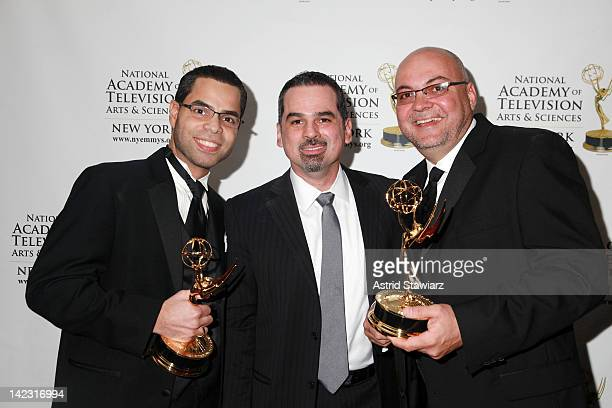 Endy Rodrigues Jose Morales and Oel Alonso attend the 55th Annual New York Emmy Awards gala at the Marriott Marquis Times Square on April 1 2012 in...
