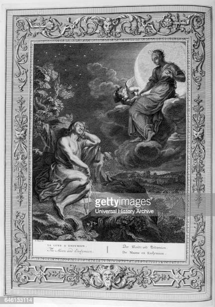 Endymion and the Moon Engraved illustration from 'The Temple of the Muses' 1733 This book represented remarkable events of antiquity drawn and...