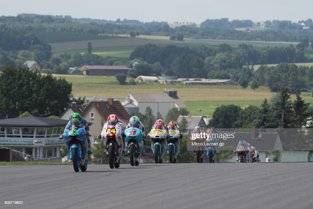 Enea Bastianini of Italy and Estrella Galicia 0,0 leads the field during the Moto3 race during the MotoGp of Germany - Race at Sachsenring Circuit on July 2, 2017 in Hohenstein-Ernstthal, Germany.