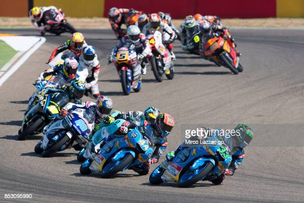 Enea Bastianini of Italy and Estrella Galicia 00 leads the field during the Moto3 race during the MotoGP of Aragon Race at Motorland Aragon Circuit...