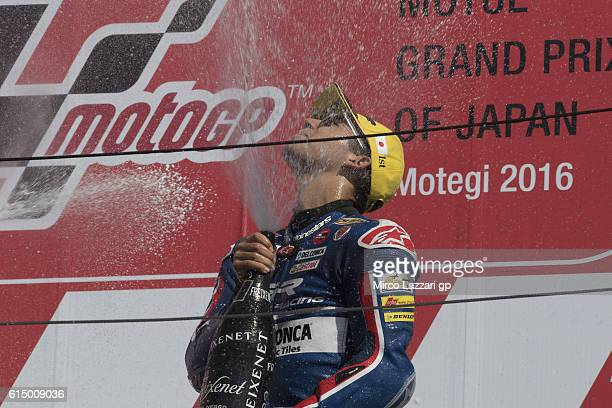 Enea Bastianini of Italy and Gresini Racing Moto3 celebrates the victory in the podium at the end of the Moto3 race during the MotoGP of Japan Race...