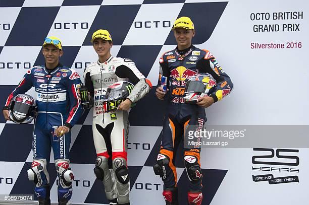 Enea Bastianini of Italy and Gresini Racing Moto3 Francesco Bagnaia of Italy and Aspar Team Moto3 and Bo Bendsneyder of Netherlands and Red Bull KTM...