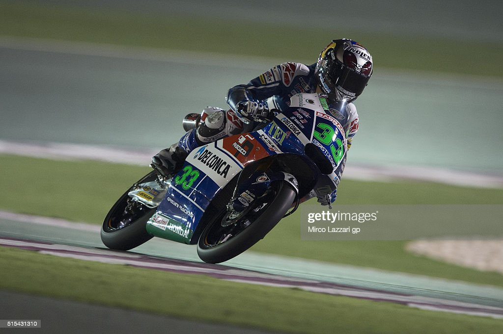 Enea Bastianini of Italy and Gresini Racing Moto3 heads down a straight during the Moto2 And Moto 3 Tests at Losail Circuit on March 13, 2016 in Doha, Qatar.