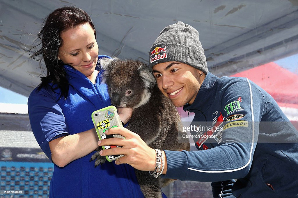 Enea Bastianini of Italy and Gresini Racing Moto3 poses with a Koala during previews ahead of the 2016 MotoGP of Australia at Phillip Island Grand Prix Circuit on October 20, 2016 in Phillip Island, Australia.