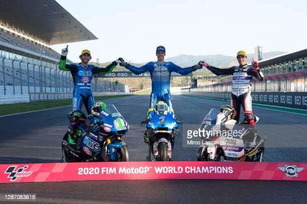 Enea Bastianini of Italy and Italtrans Racing Team, Joan Mir of Spain and Team Suzuki ECSTAR and Albert Arenas of Spain and Aspar Team Gaviota poses...