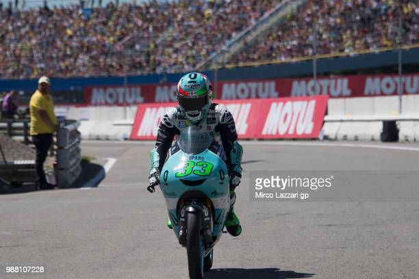 Enea Bastianini of Italy and Leopard Racing celebrates the second place at the end of the Moto3 Qualifying practice during the MotoGP Netherlands...