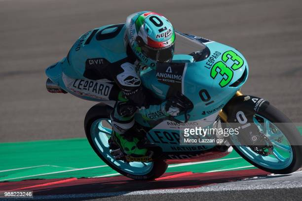 Enea Bastianini of Italy and Leopard Racing heads down a straight during the Qualifying practice during the MotoGP Netherlands Qualifying on June 30...
