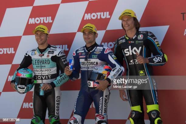 Enea Bastianini of Italy and Leopard Racing Jorge Martin of Spain and Del Conca Gresini Moto3 and Niccolo Bulega of Italy and Sky Racing Team VR46...