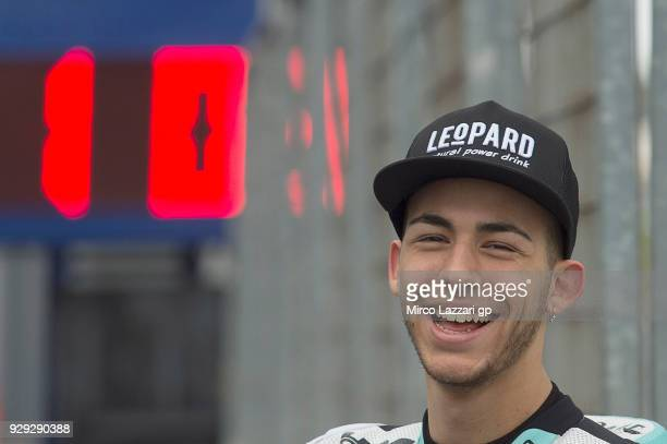 Enea Bastianini of Italy and Leopard Racing smiles in pit during the Moto2 Moto3 Tests In Jerez at Circuito de Jerez on March 8 2018 in Jerez de la...