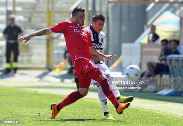 Enej Jelenic of FC Carpi competes for the ball whit Antonino Barillà of Parma Calcio during the serie B match between Parma Calcio and Carpi FC at...