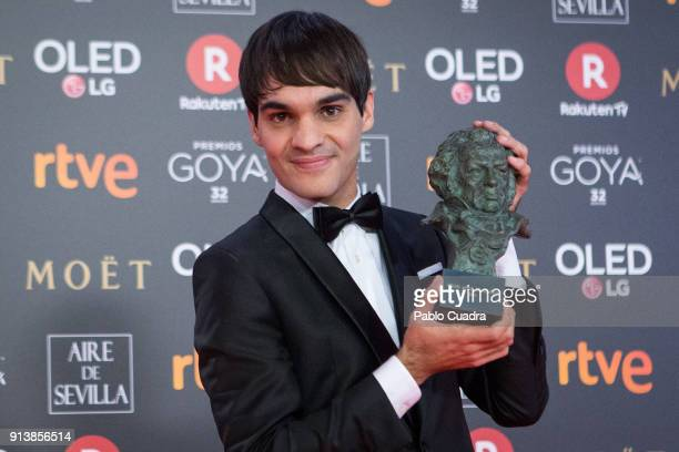 Eneko Sagardoy holds the best new actor award for the film Handia during the 32nd edition of the Goya Cinema Awards at Madrid Marriott Auditorium on...