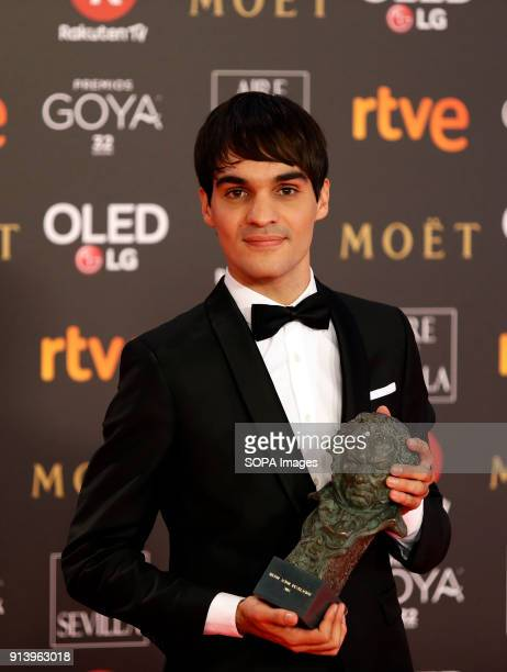 Eneko Sagardoy receives the Goya award for best new actor for his role in the film 'Handia' during the 32nd Goya Cinema Awards 2018 ceremony at...