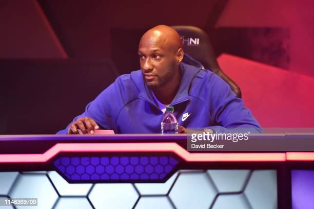 Enemies cocaptain Lamar Odom looks on during the BIG3 Draft at the Luxor Hotel Casino on May 01 2019 in Las Vegas Nevada