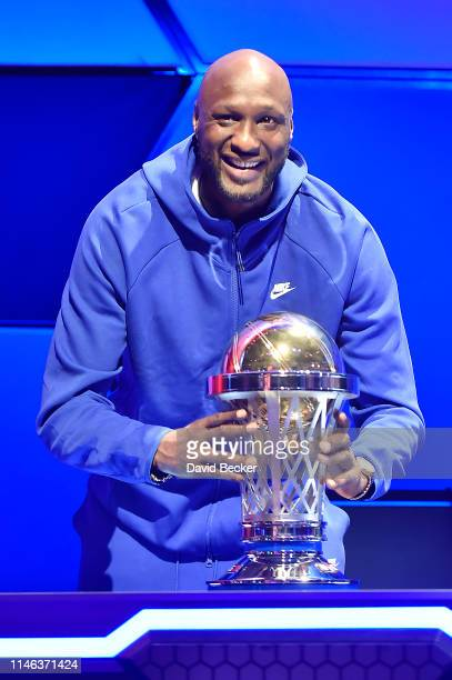 Enemies cocaptain Lamar Odom poses with the championship trophy during the BIG3 Draft at the Luxor Hotel Casino on May 01 2019 in Las Vegas Nevada