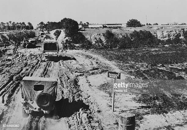 Enemy air equipment and installations took a heavy pounding from bombers of the United States Army Air forces as they pursued Marshal Erwin Rommel's...