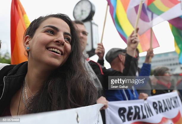 Enena, a lesbian refugee from Syria, participates in a gathering to promote The International Day Against Homophobia, Transphobia and Biphobia on May...