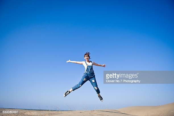 Energetic girl jumping