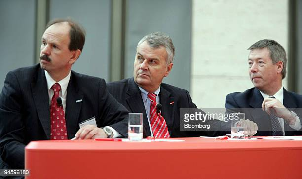 Energie board member Bernhard Fischer, left, EON Chief Executive Wulf Bernotat, center, and EON Ruhrgas board member Juergen Lenz listen during the...