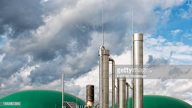 Energiewende, Biomass energy plant under an approaching thunderstorm