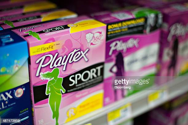 Energizer Holdings Inc Playtex brand tampons sit on display in a supermarket in Princeton Illinois US on Wednesday April 30 2014 Energizer Holdings...