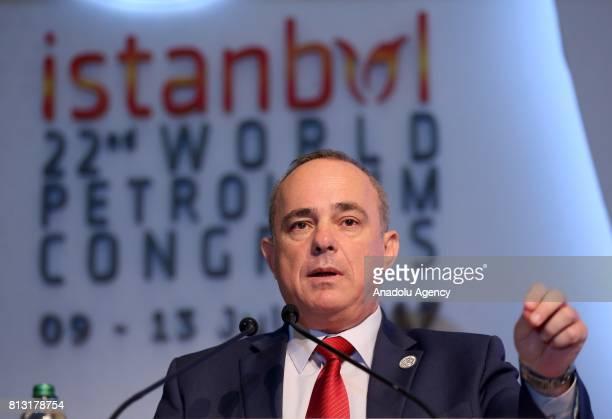 Energy and Water Resources Minister of Israel Yuval Steinitz delivers a speech during the 22nd World Petroleum Congress in Istanbul Turkey on July 11...